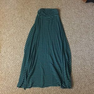 Teal and black stripe maxi skirt